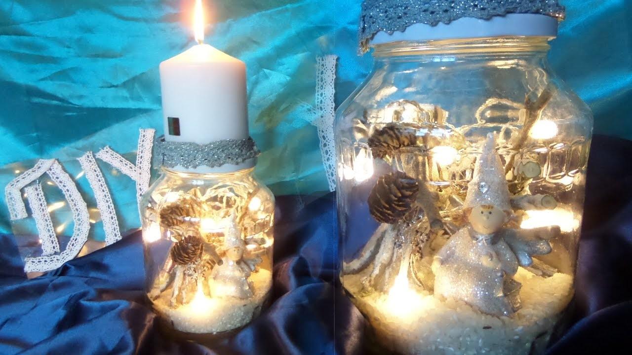 Diy Beleuchtetes Winter Deko Glas Mit Kerzenstander Basteln