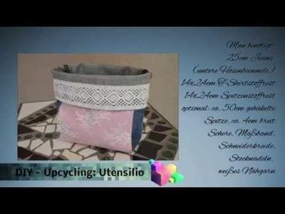 DIY - upcycling Nähideen: Wie man aus alten Jeans. Stoffresten ein Utensilio näht.