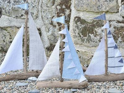 DIY Seegelboote aus Treibholz mit liebevollen Details. maritime Deko. Sommerdeko | HowTo
