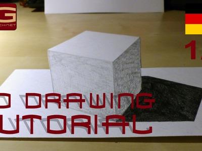 3D Drawing Tutorial - Anleitung 3D Illusionen zeichnen - Part 1.4 - Deutsch.German (How to 3D Cube)