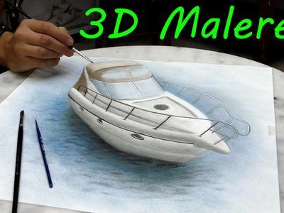 Yacht gemalt in 3D.realistische Malerei