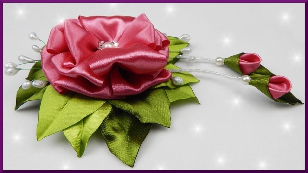 diy kanzashi blume aus satinband schleifenband basteln satin ribbon flower with stamens. Black Bedroom Furniture Sets. Home Design Ideas