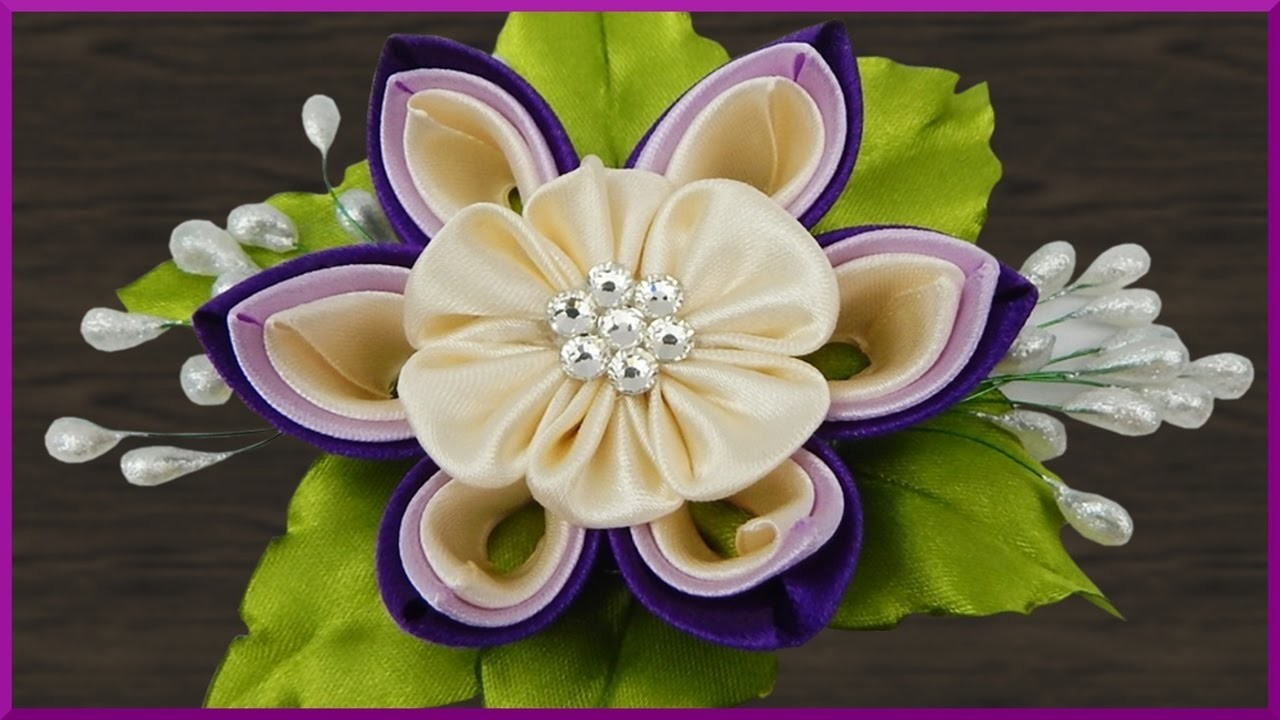 diy kanzashi haarspange blume aus satinband basteln satin ribbon flower barrette. Black Bedroom Furniture Sets. Home Design Ideas