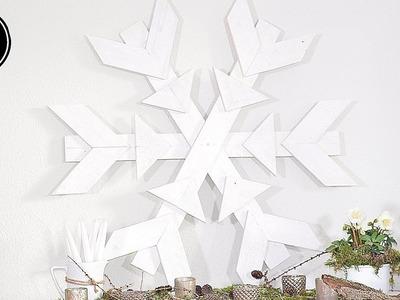 DIY - Winterdeko selber machen - XXL-Schneeflocke aus Paletten selber machen I Shabby Chic Stil