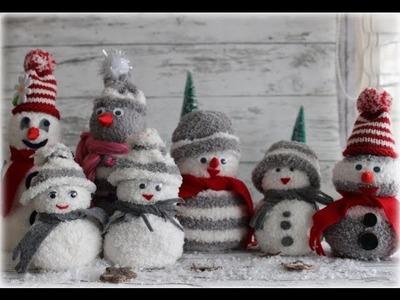 Schneemänner ganz leicht aus Socken basteln. DIY Sock Snowman