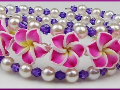 DIY | Blumenarmband aus Perlen | Schmuck basteln | Flower beaded bracelet | memory wire