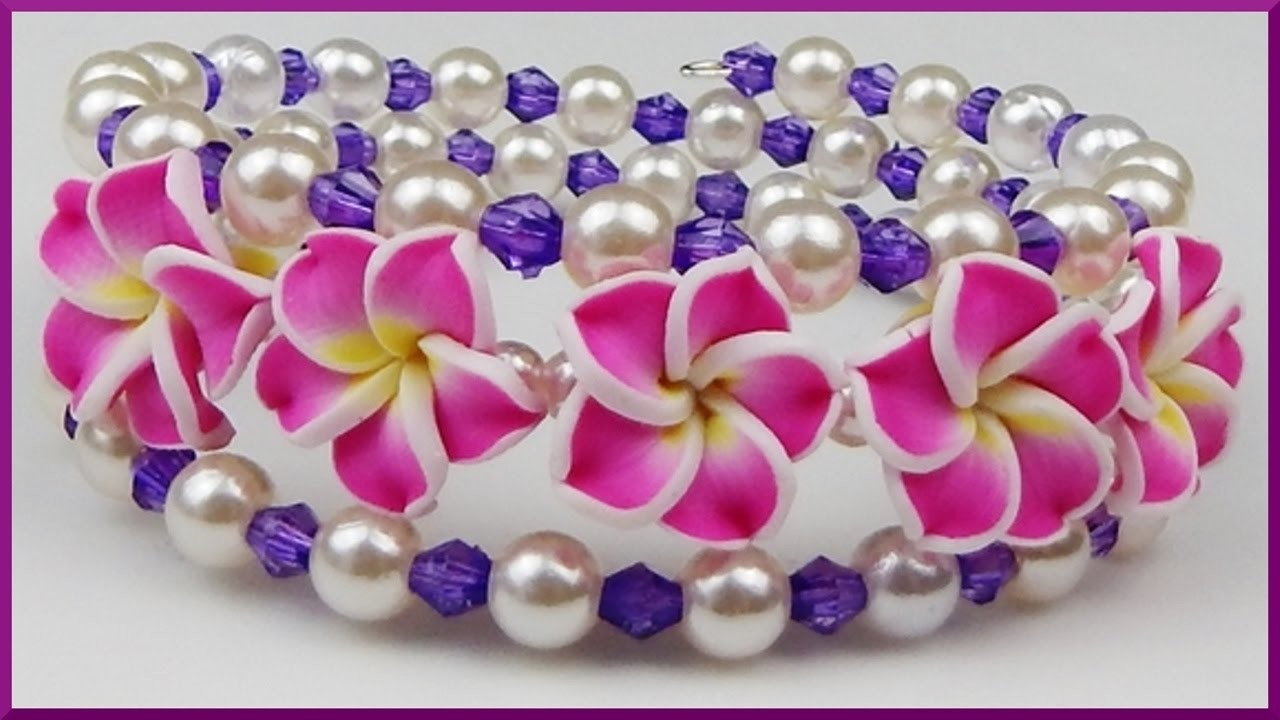 DIY   Blumenarmband aus Perlen   Schmuck basteln   Flower beaded bracelet   memory wire