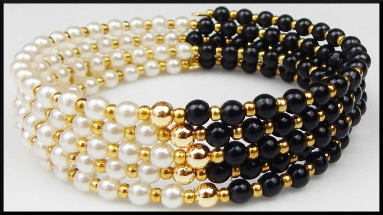 DIY | Schwarz weißes Perlenarmband basteln | Black and white memory wire bracelet with pearls