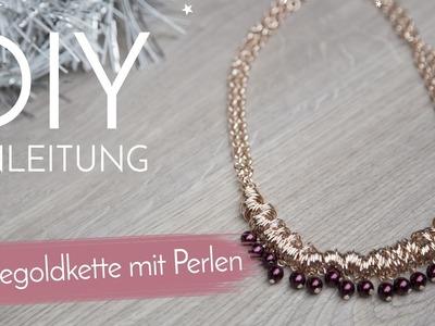DIY Anleitung - Rosegoldkette mit Perlen
