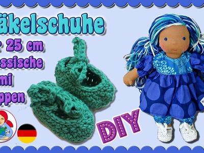 DIY | Häkelschuhe für 25 cm Puppen (Klassischer Sami Schnitt) • Sami Doll Tutorials