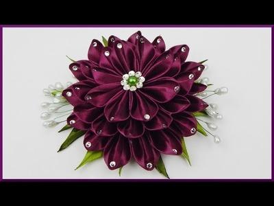 DIY Kanzashi | Blume aus Stoff basteln | Haarschmuck | Satin ribbon flower | Hair accessory