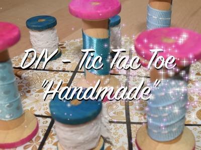 """DIY Tic Tac Toe """"Handmade"""" aus Garnrollen - tolles Geschenk - Selbermachen - einfach"""