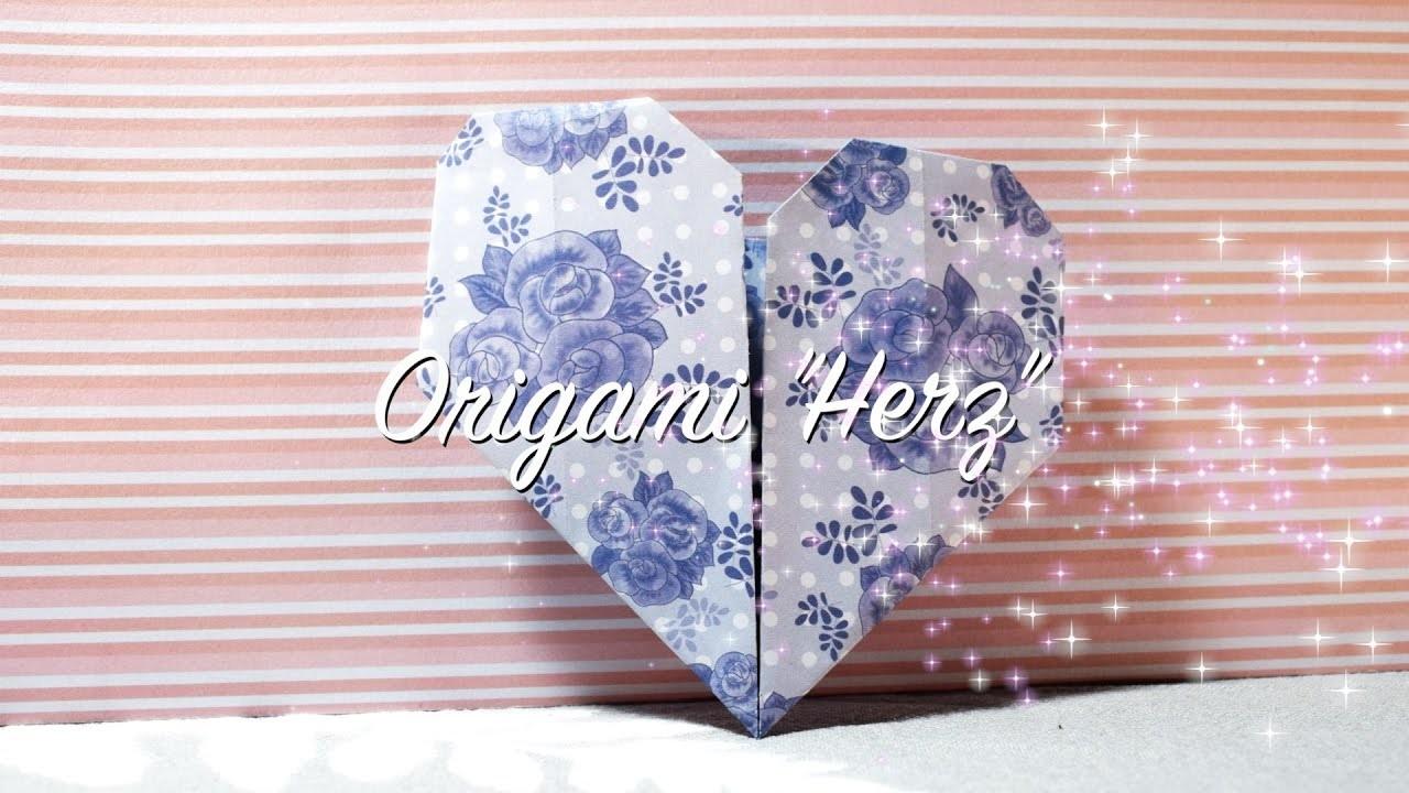 origami herz falten diy herz basteln ohne schneiden leicht einfach nachzumachen. Black Bedroom Furniture Sets. Home Design Ideas