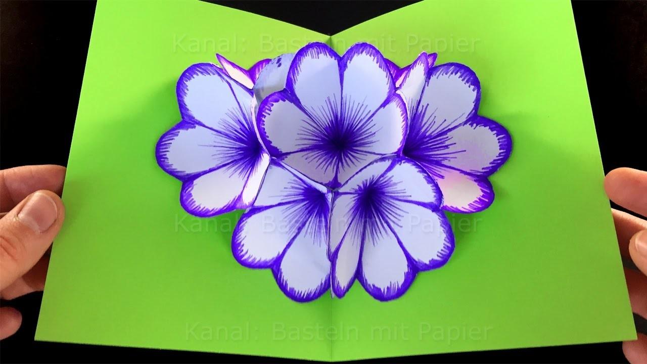 Basteln Mit Papier Blumen Pop Up Karte Basteln Diy Bastelideen Fur