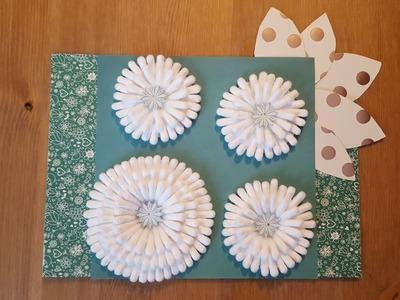 Blume mit Wattestäbchen basteln.DIY Cotton Buds Flower