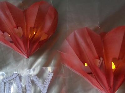 DIY:Beleuchtetes 3D Valentinstags HERZ,Party DEKO aus Papier-Frühstückstüten selber BASTELN + FÄRBEN