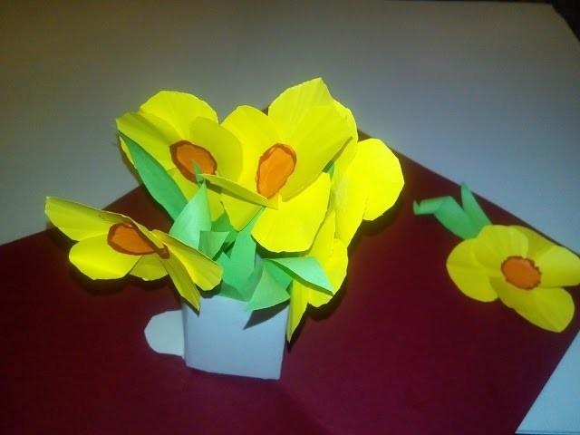 diy tutorial 3d valentinskarte oder geburtstagskarte mit osterglocken narzissen selber machen. Black Bedroom Furniture Sets. Home Design Ideas