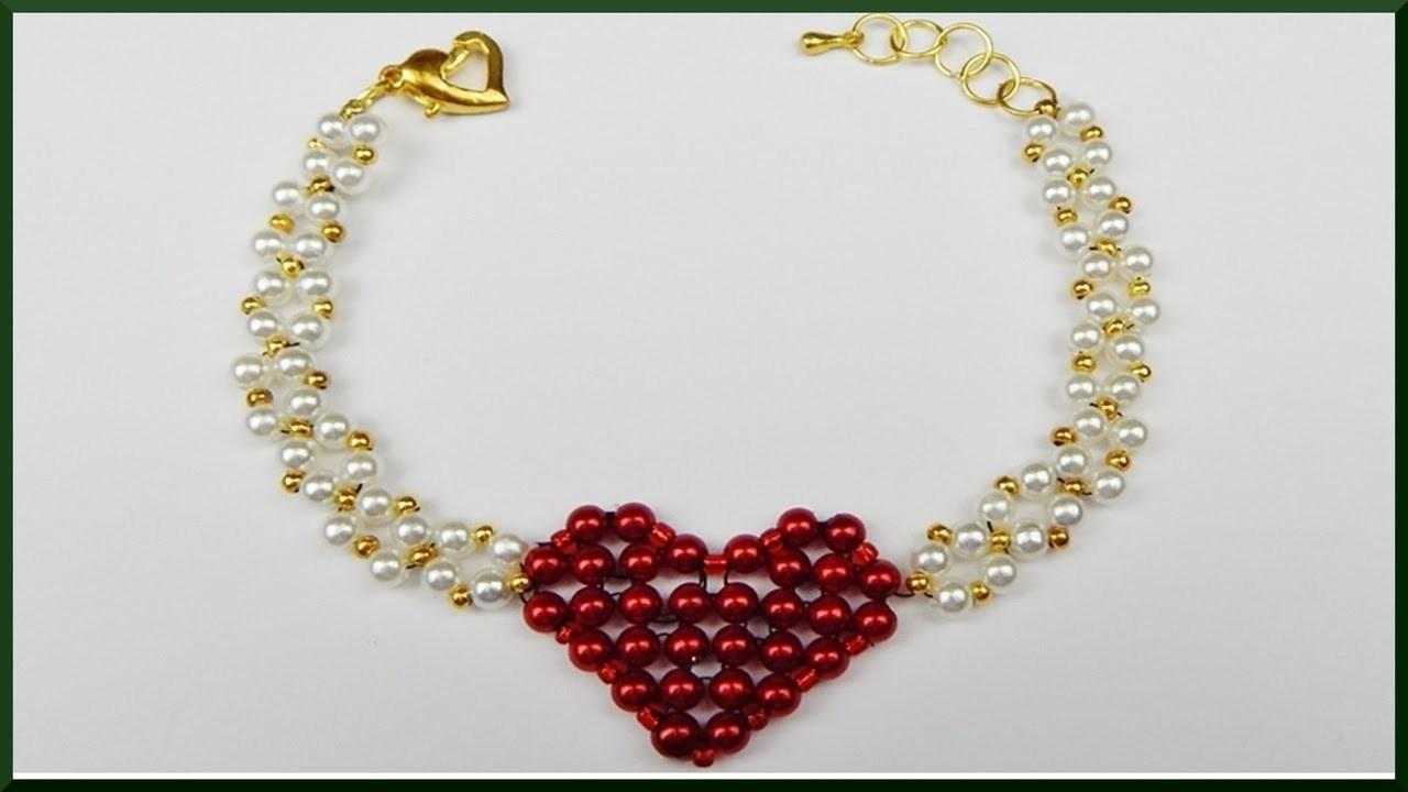Diy Valentinstag Herz Armband Aus Perlen Basteln Valentines Day