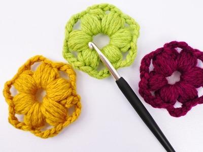 Süße Blumen aus Wollresten häkeln | Einfache & schnelle Deko Idee | Puffstich Blumen häkeln