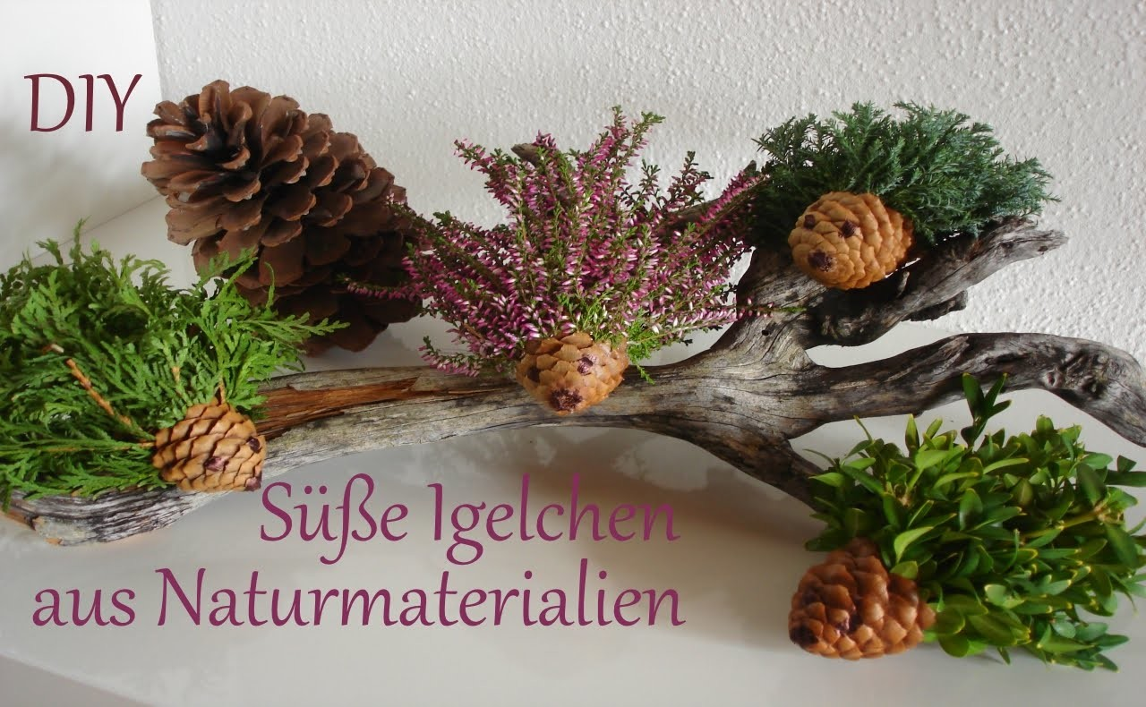 diy herbstdeko kleine igelchen aus naturmaterialien. Black Bedroom Furniture Sets. Home Design Ideas