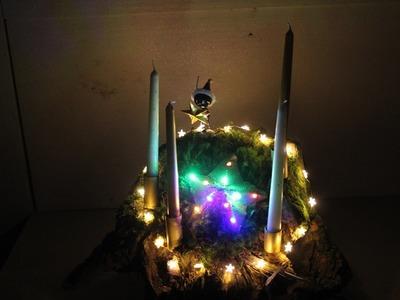 DIY Weihnachtsdeko aus Lichterketten und Baumwurzel