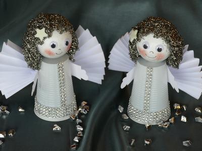Engel. angel basteln aus Plastikbechern, Flügel aus Papier falten
