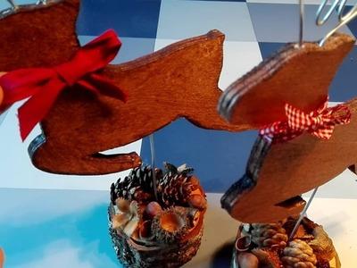 Hirsch basteln aus Holz und Draht, DIY Weihnachtsdeko
