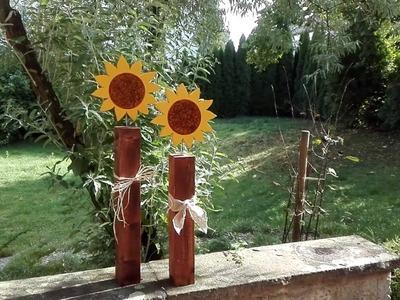 Sonnenblumen aus Holz basteln