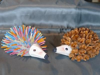 Tiere. animals basteln, Igel basteln mit Naturmaterialien oder Trinkhalmen, Basteln mit Kindern
