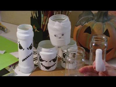 Basteln mit Kindern - Glasgeister. Glasmumien - Windlichter Deko für Halloween