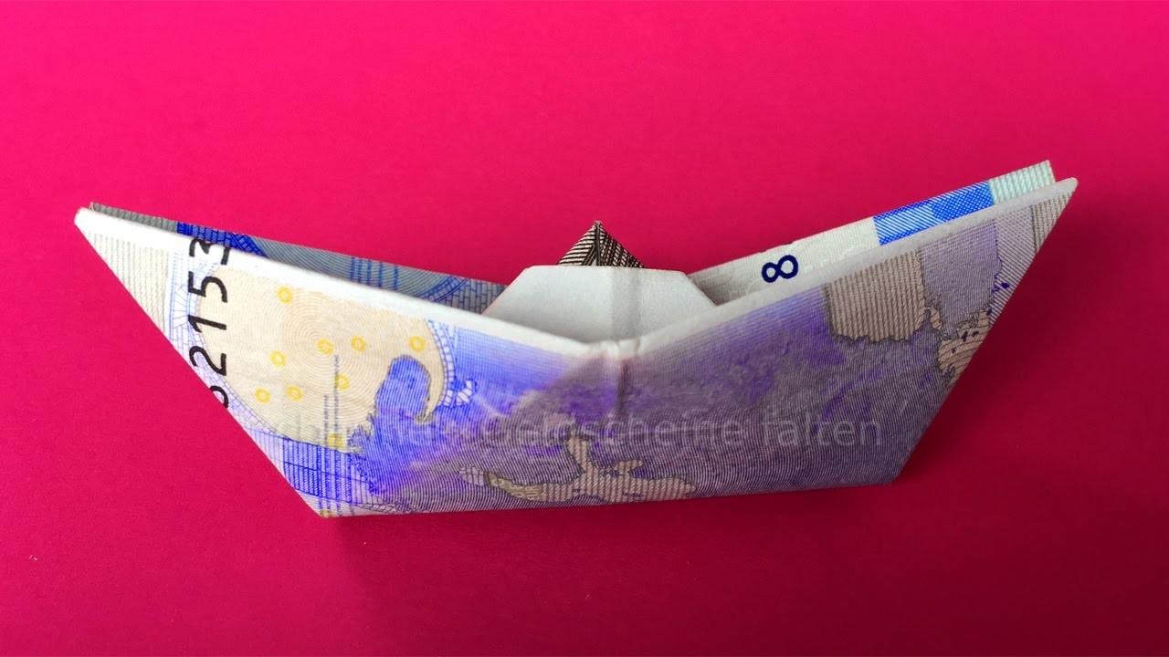 geldschein falten schiff einfach geld falten zum geldgeschenke basteln origami boot. Black Bedroom Furniture Sets. Home Design Ideas