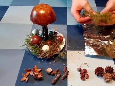 Kleine Pilze. Pilzgruppe basteln aus Gips, Holzgel, Zweigen und Naturdeko