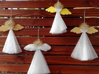 Weihnachtsengel basteln aus Gardine, Engelshaaren, Papier.Filz.Federn.Holz