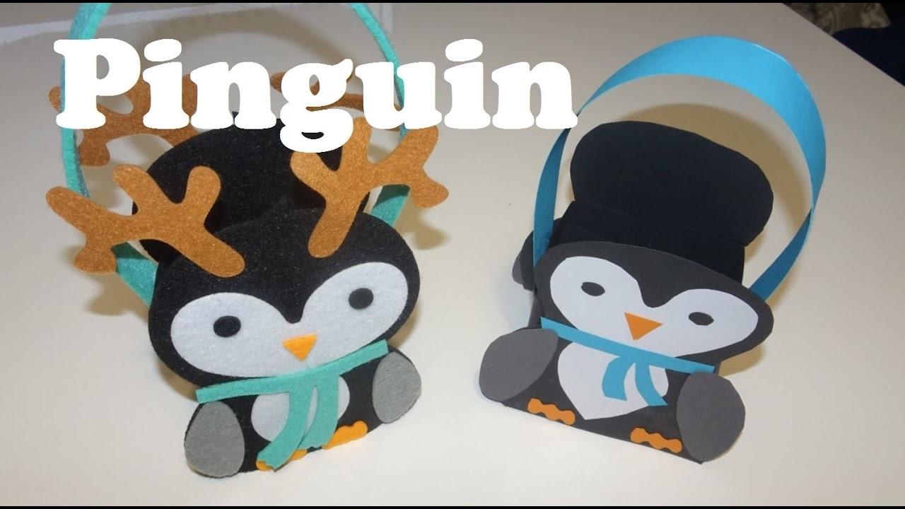 basteln pinguin korb selber machen penguin bag selfmade. Black Bedroom Furniture Sets. Home Design Ideas