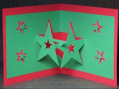 Basteln zu Weihnachten: Pop Up Karten selber basteln. Pop Up Sterne Karte