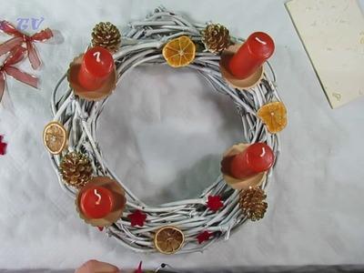 Tischdeko . Weihnachtskranz selber basteln  ( einfach )