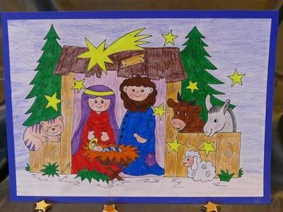Weihnachtsbasteln mit Kindern –Krippe zum Aufstellen – malen und basteln – einfach