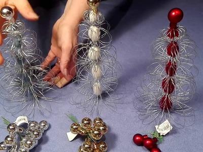Weihnachtsbaum basteln aus Gartendraht und Faden