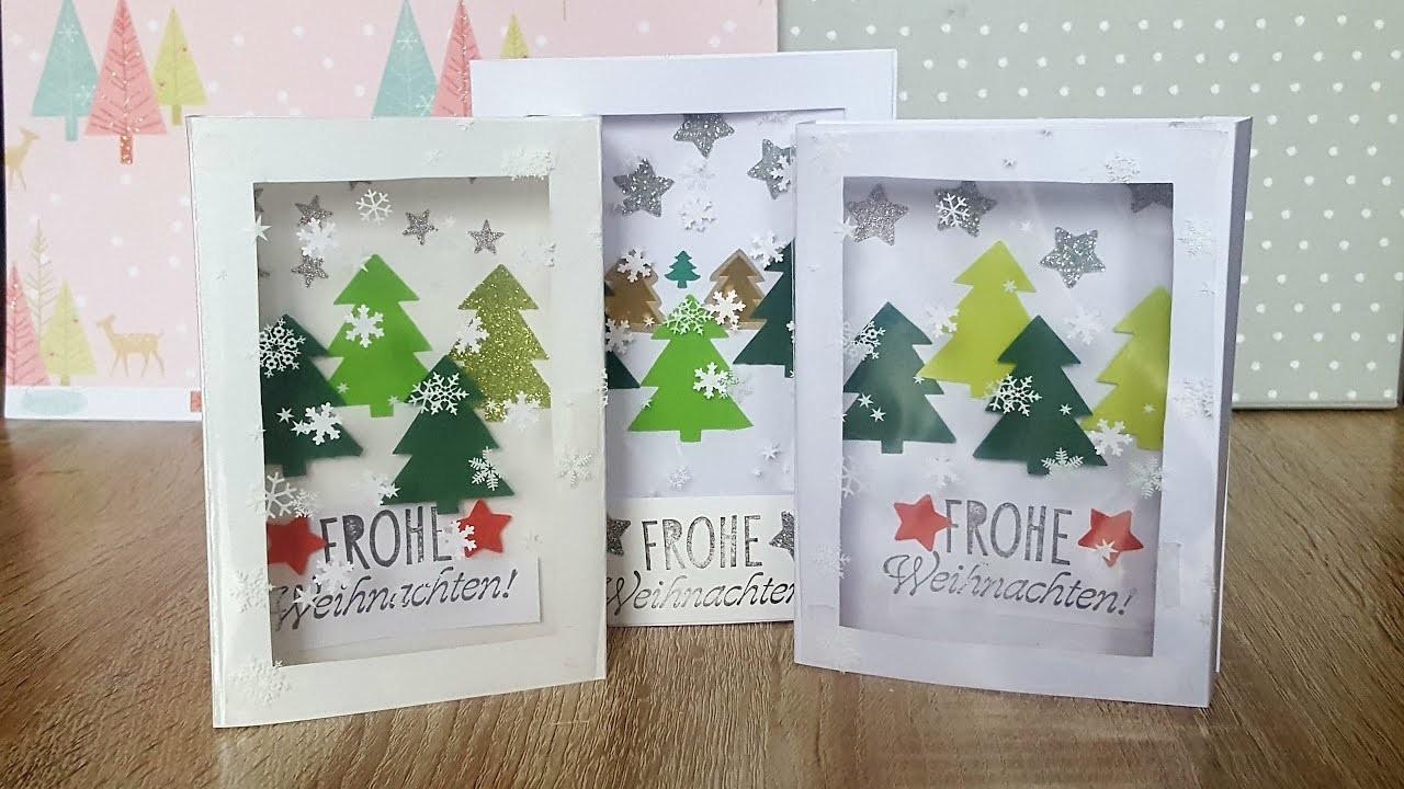 Stehkarte basteln mit klarsichtbeutel weihnachtskarte - Weihnachtsgirlande basteln ...