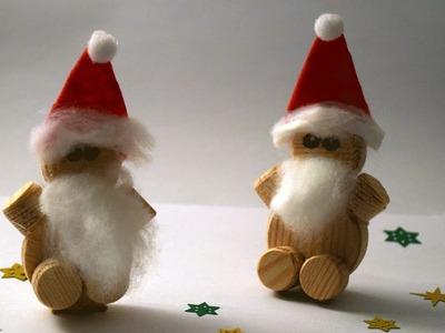 Weihnachtsmann aus Holzdübeln basteln