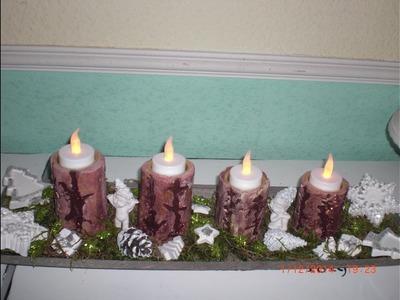 Beton giessen - DIY - Teelichthalter in Baumstammform. Baum Teelichter