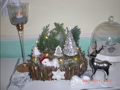 DIY - weihnachtliches. winterliches Gesteck aus Mandarinenkiste