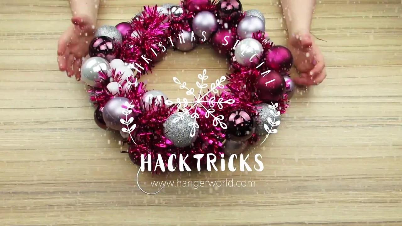 DIY Weihnachtskranz aus einem Drahtkleiderbügel