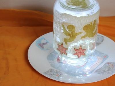 DIY,Winterdeko,Glas mit Serviettentechnik,Engel- und Sternmotiven