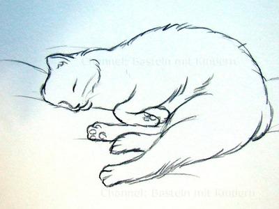 Katze zeichnen lernen - Tiere zeichnen und malen - schlafende Katze - DIY