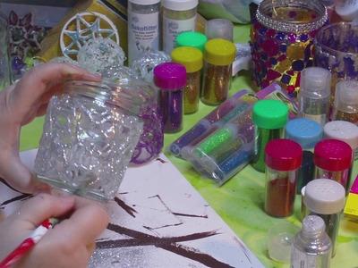 DIY - Glas mit Heißkleber verziert als Silvesterdeko