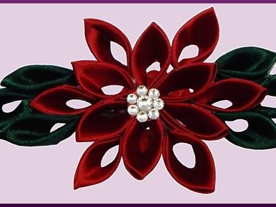 DIY Kanzashi | Weihnachtsstern. Blume aus Schleifenband | Ribbon christmas flower winter rose