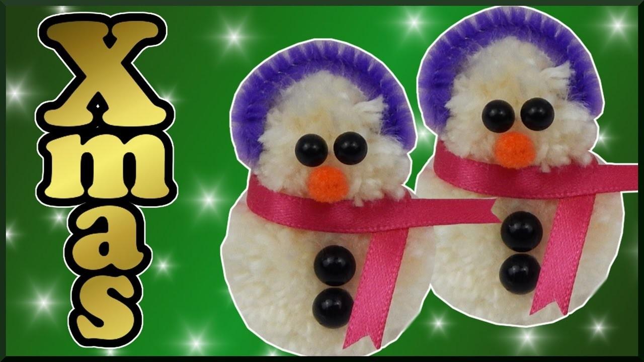 DIY Pompom   Weihnachten Schneemann aus Wolle basteln   Christmas wool Pompom snowman