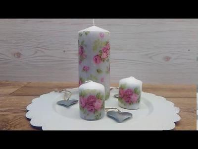 DIY Kerze mit Haarfön und Serviette gestalten