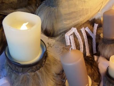 DIY: COOLER Deko Kerzenständer aus HOLZ + Kunst-FELL selber basteln;DIY kekaplauderei